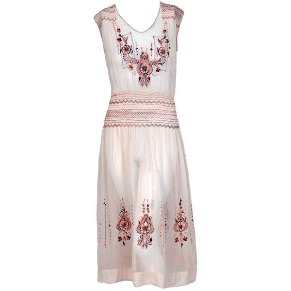 1920's Bohemian Embroidered Tan-Cotton Smocked Flapper Day Dress ($475) ❤ liked on Polyvore featuring dresses, flapper, 1920s dress, smock dress, gatsby dress, roaring 20s dress and pink dress