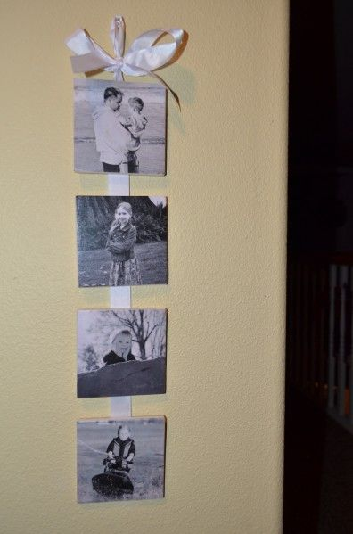 """Tutorial:  Coaster Hanging Photo Display    I would love to do this as a welcome sign near our door. Use some colorful paper and some thick letters to spell """"Welcome!"""" or """"Hello!"""""""
