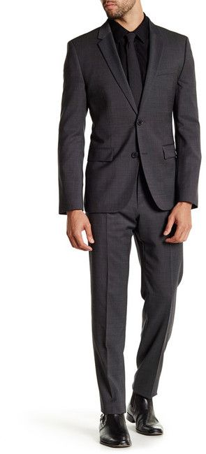 HUGO HUGO BOSS Aeron/Hamen Black Dot Two Button Notch Lapel Wool Suit