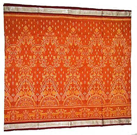 Beautiful Orange Sambalpuri Silk Saree with Blouse Piece