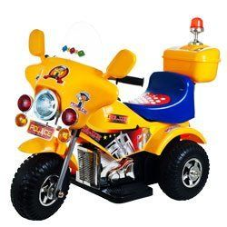 Lil' Rider Debutante Battery - Operated Police Bike Yellow by LIL' RIDER. $109.99. Lil' Rider Debutante Battery - Operated Police Bike let's your kids protect and serve! There's a new Sheriff in town! With glimmering chrome and real police looks this Battery-Operated Motorcycle lets your kid chase down the bad guys at a blistering 3 mph (hey, it's fast to them!) It's got full forward and reverse function and, best of all, the emergency lights really work! Includes ...