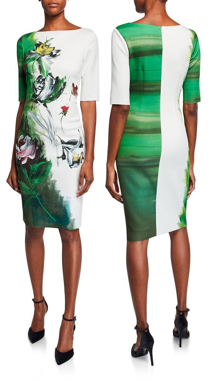 Super Pretty Emerald Green Painted Print Dress Border Print Bateau Neck Elbow Sleeve Scuba Dress Stunning Kentucky Derby Dress Derby Dress Stunning Dresses [ 1274 x 700 Pixel ]