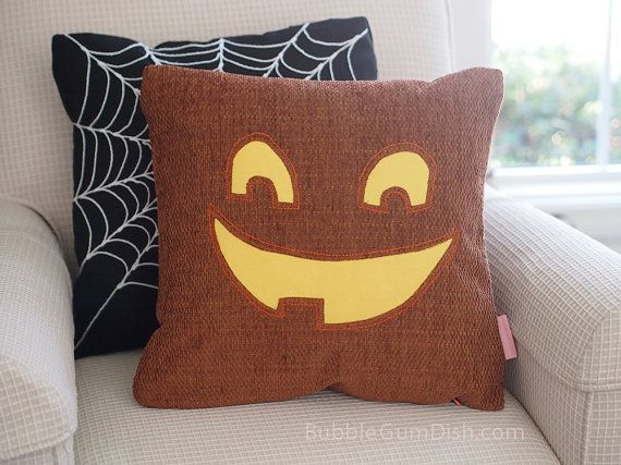 Jaclyn the Jack o Lantern Pumpkin Pillow Cover by BubbleGumDish, $40.00