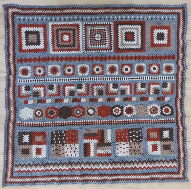 Bluebird's Granny, free pattern by Bluebird and Daisy. A combination of granny squares, miter squares, hexagons, & stripes. Nice color-work techniques. Pic from Ravelry Project Gallery by WB10. #crochet #afghan #blanket #throw