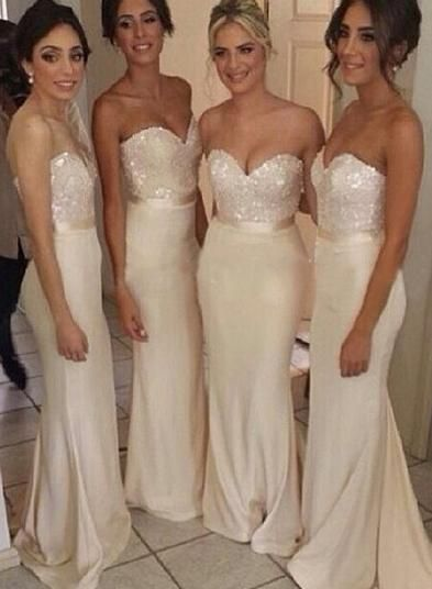 Sparkly Bridesmaid Dresses Long Beaded Bridesmaid Dress Floor Length Sweetheart Sexy Bridesmaids Modest Prom Evening Formal Gown Custom