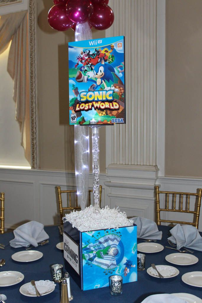 Sonic Themed Centerpiece Sonic Themed Centerpiece for Video Game Themed Bar Mitzvah