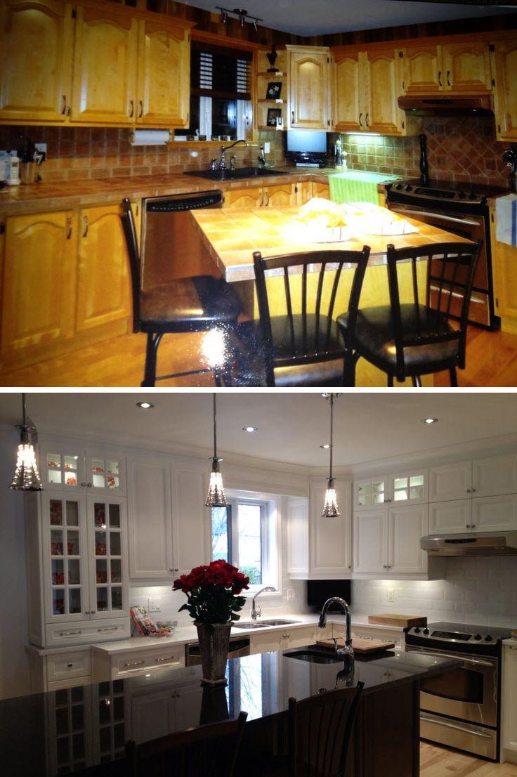 Un beau projet qu'a été de refaire la cuisine de Julie. On a opté pour une cuisine en polyester avec portes embossées. Beaucoup de portes vitrées ont été ajoutées afin de laisser voir l'intérieur des armoires, on a refait l'éclairage et le plancher a aussi été pâli. Résultat: une pièce beaucoup plus éclairée et moderne.
