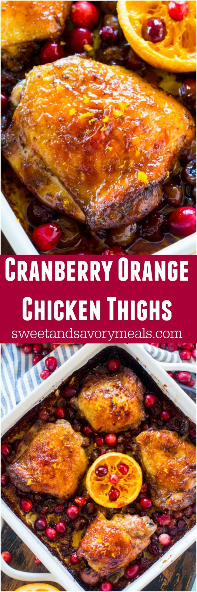 Cranberry Orange Chicken is the perfect, one pan, seasonal meal made with juicy, tart cranberries and fresh orange juice and zest. #chicken #onepan #cranberries