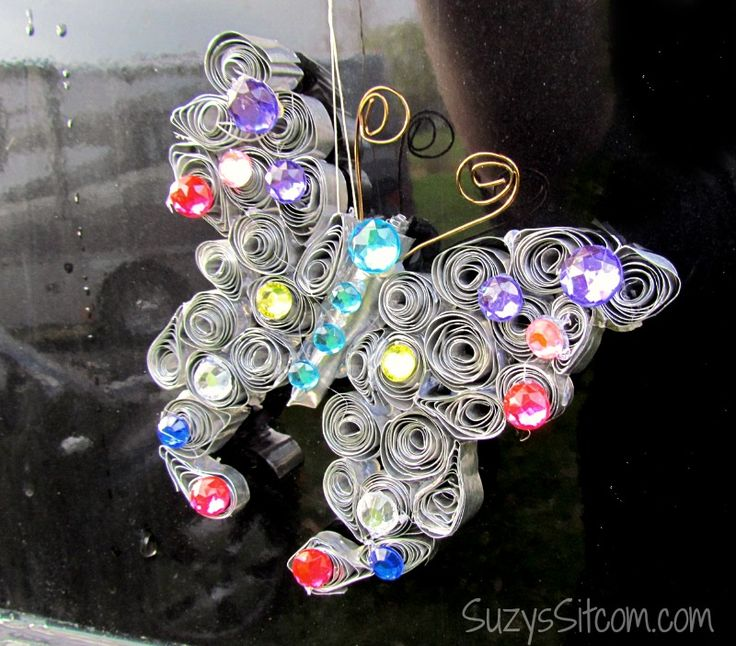 I love to create things out of unusual items. This particular project uses disposable aluminum pans to create a colorful butterfly suncatcher! [media_id:2781355…