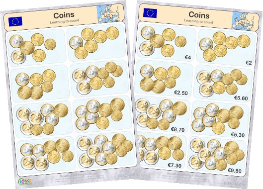 Learn to recognise and count EURO banknotes & coins - counting coins 4