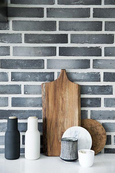 Brickwork | kitchen Menu salt & pepper grinder www.abodemodern.com. Love the lighter grout. How hard to keep clean, I wonder.