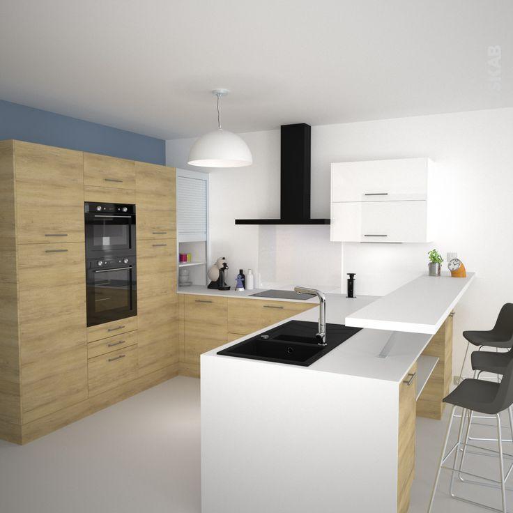 cuisine moderne design en bois dcor chne naturel implantation en u retour snack en - Cuisine Moderne Orange Avec Marbre Galaxie Noir