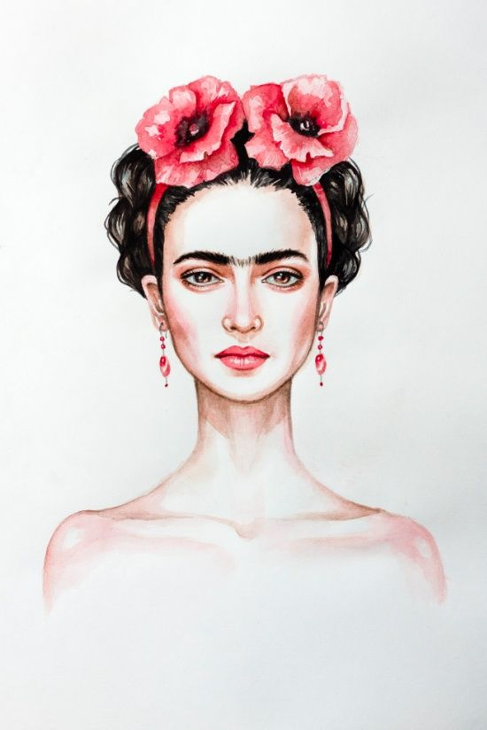 Frieda by Black Fury | Frida Kahlo portait painting with red roses on her head. Woman with dark hair and thick eyebrows. Click through for prints of this artwork (cards, phone cases etc.)!