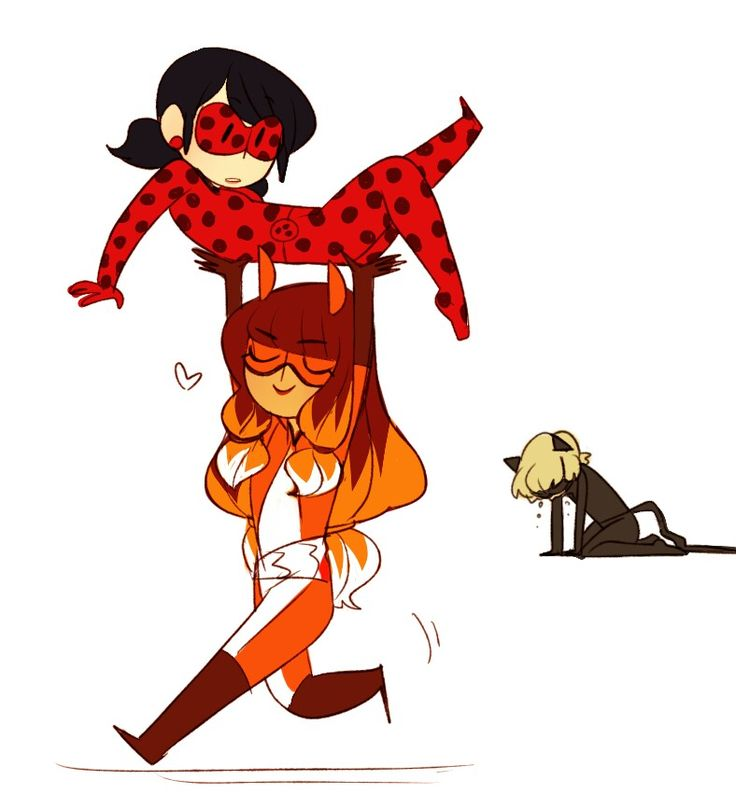 (Miraculous: Tales of Ladybug and Cat Noir) Ladybug, Volpina and Cat Noir