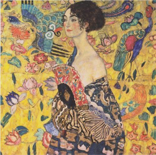 Lady with Fan - Gustav Klimt