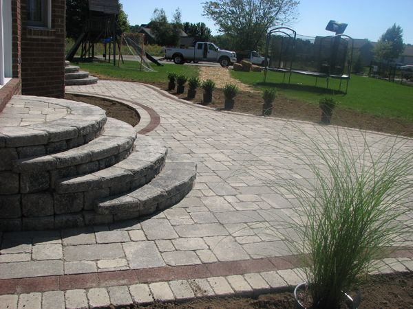 round steps for a deck  Testimonials  Yard project  Patio Bluestone patio Brick paver patio