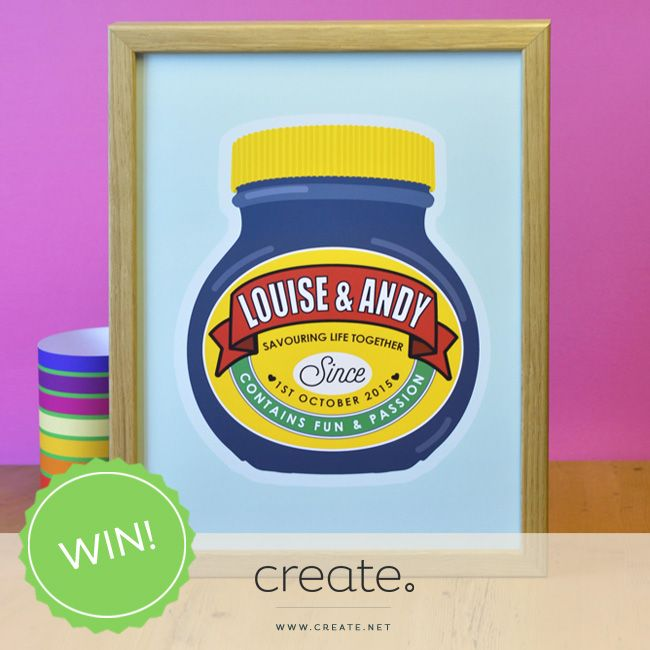 """Win this amazing """"Love In A Jar"""" personalised print from online store, Come For A Dream. The perfect print for marmite lovers! Enter over on the Create Facebook page. Good luck :)"""