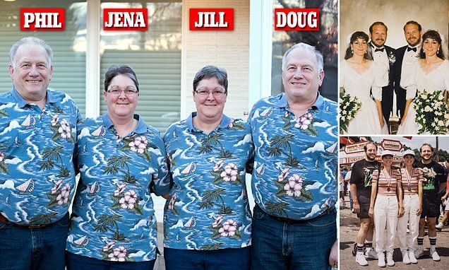 Doug (right) and Phil (left) Malm live in a four bedroom home with wives Jill and Jena (center right and left) in Moscow, Idaho. They got married in 1993 at the Twin Days festival in Twinsburg, Ohio (inset).