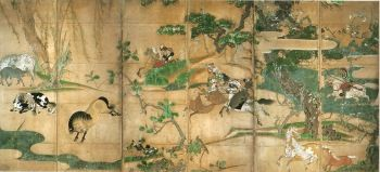 長谷川等伯 -《牧馬図屏風》 重要文化財 東京國立博物館藏