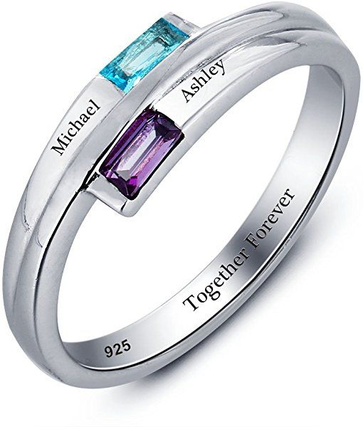 989399c2e0 Amazon.com: Diamondido Promise Ring Personalized Engraved Names Lover  Simulated Birthstone Couples Engagement Rings For Women (7): Jewelry
