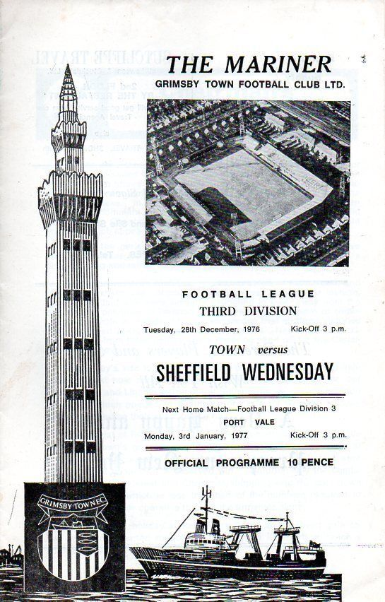 Grimsby Town v Sheffield Wednesday Football Programme 28th Dec 1976 Division 3