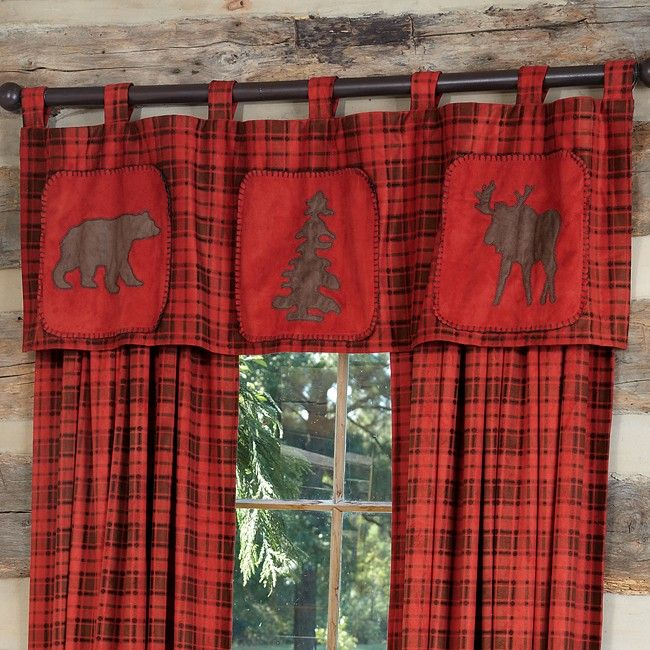 red checked curtains | red plaid valance bear pine tree and moose on a red and brown plaid ...