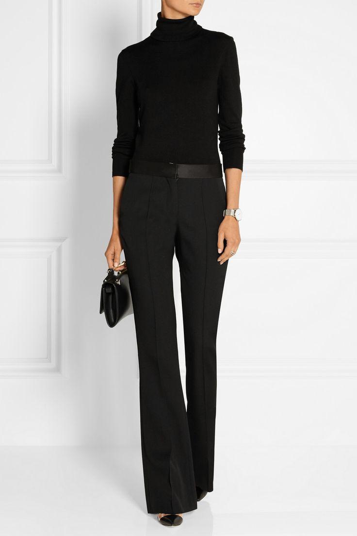Victoria Beckham Satin-trimmed wool-gabardine flared pants NET-A-PORTER.COM