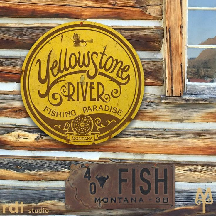 Remember your time spent in Montana. Shop montana-treasures.com and put a piece of Montana in your home...like this vintage Yellowstone River Fishing Paradise wall sign...a 14 inch diameter, .020 inch thick steel sign suitable for indoor and outdoor display. Designed in Montana. Made in the USA. Free Shipping.