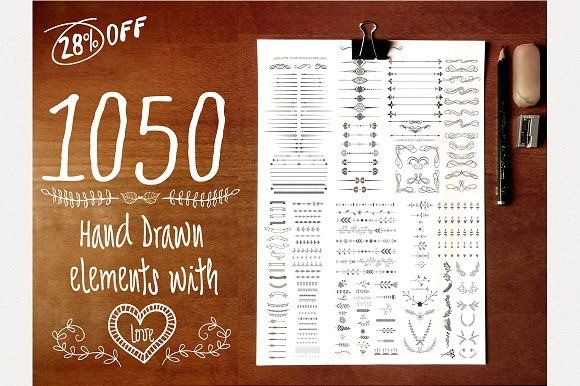 1050 Hand Drawn Elements with Love by shrdesign on @creativemarket