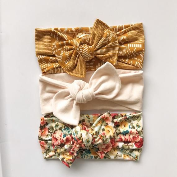 boho headband Bow Knot floral head wrap Baby Head Wrap Headband Newborn  Baby  Girls Vintage Floral Top Knot Knotted Bow