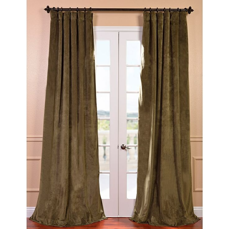 Exclusive Fabrics Signature Hunter Green Velvet 120 Inch Blackout Curtain Panel By