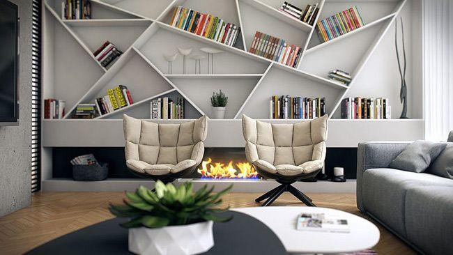 Bibliothèque asymétrique et sculpturale