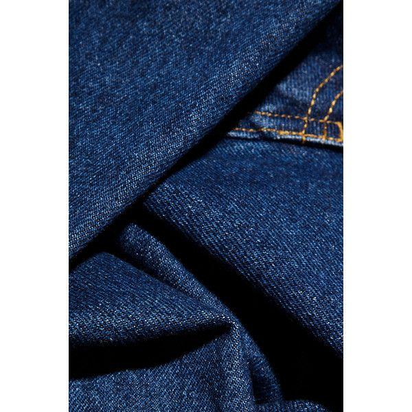Balenciaga Asymmetric denim dress ($875) ❤ liked on Polyvore featuring dresses, denim midi dress, blue dress, midi dress, calf length dresses and mid calf dresses