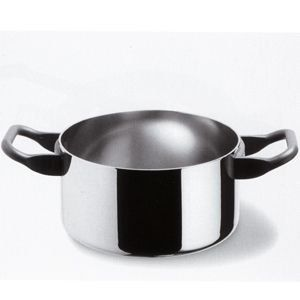 """Alessi La Cintura Casseroles Cintura Orione Casserole 3 1/4 Qt. 8"""" by Alessi. $189.00. Approximate size: 8"""", 3.25 qt, no lid. Two-handled casserole in multiply. Handles in 18/10 stainless steel. Ideal for braising and especially for stewing. It's also the first pot a cook reaches for when cooking with the """"covered casserole"""" method, a classic example being the traditional Italian Sunday roast."""