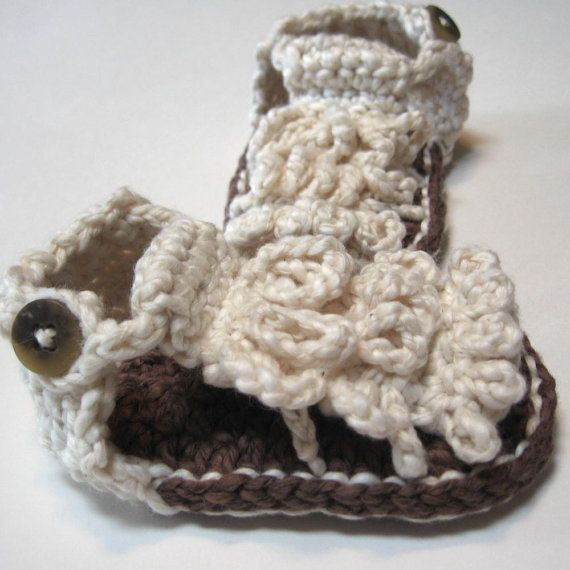 Crochet baby booties  Summer sandals  Ready by ThoughtfulStitches, $19.00