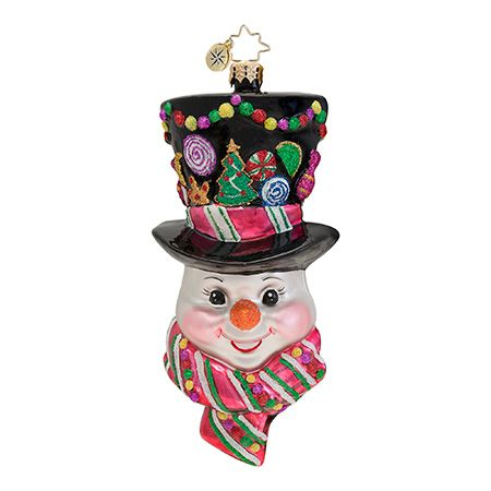 The Christopher Radko Sugared Chapeu Ornament is part of the 2013 Snowman Collection of Radko Ornaments.