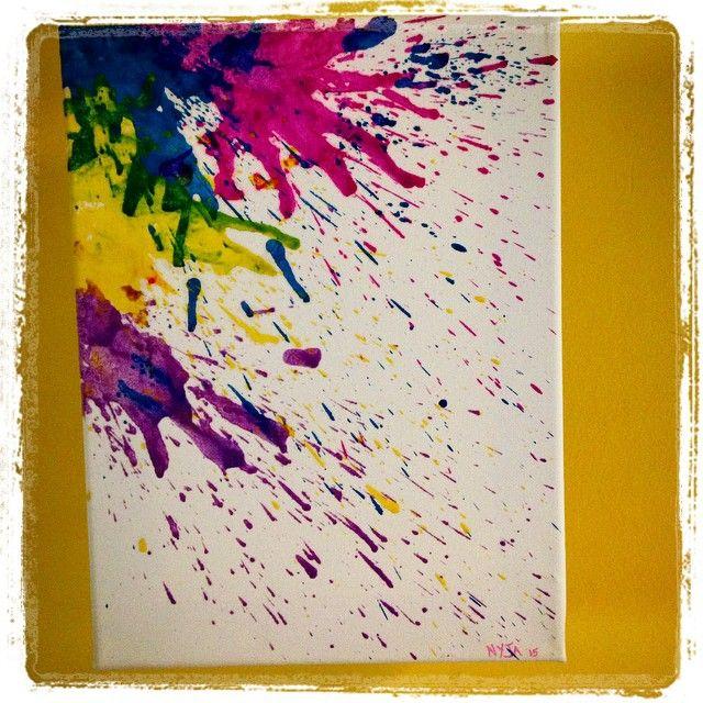 "«Toile ""Explosion"" des créations Nyja. #crayonCire #CreationsNyja»"