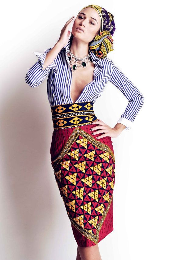 Designer African Wax Print Skirt- Pencil Skirt~Made-to-Measure - Classic Dress- Custom Made-African Fashion