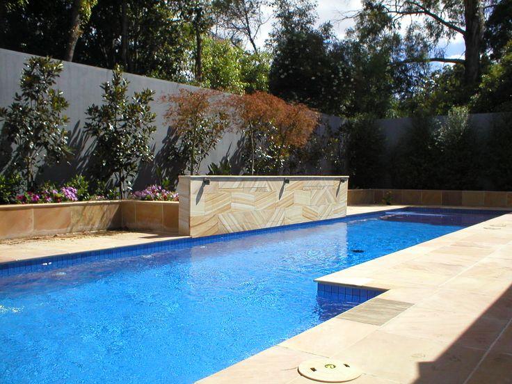 Sandstone pool and garden surround.  http://www.houzz.com.au/projects/1022537/backyard-pool-renovations-using-sandstone - www.stone101.com.au