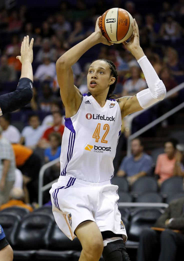 Phoenix Mercury center Brittney Griner shoots against the Minnesota Lynx during the second half of a WNBA basketball game in Phoenix in 2013.