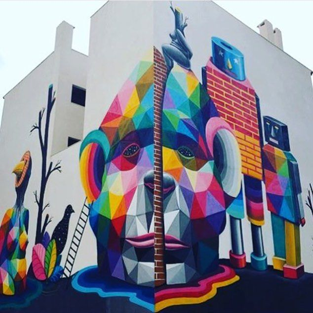 """behind_streetart: """"#streetartist : Okuda #streetart #title : Universos Paralelos where : #Ibiza #Spain created : #2015  #who is the #global #artist: Born in #Santander and based in #Madrid . The #Spaniards pieces on rail-roads and abandoned factories in his hometown were clearly recognizable. Parallel to his work in the street he also starts producing more intimate works in his studio with which from 2009 evolves into a more personal way. The multicolored #geometric structures and patterns…"""