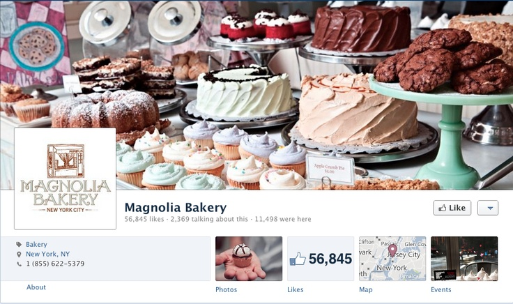 Magnolia Bakery - Prominently display their mouth-watering product while maintaining brand with logo as profile picture.