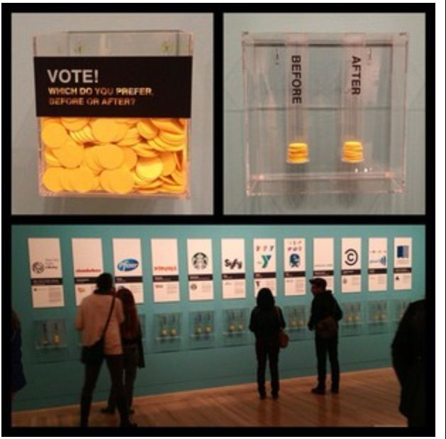 Interactive doesn't have to be all tech, or complicated. You can take a poll in your booth and make it visual!  Exhibition Interactive, Graphic Design: Now in Production, Hammer Museum