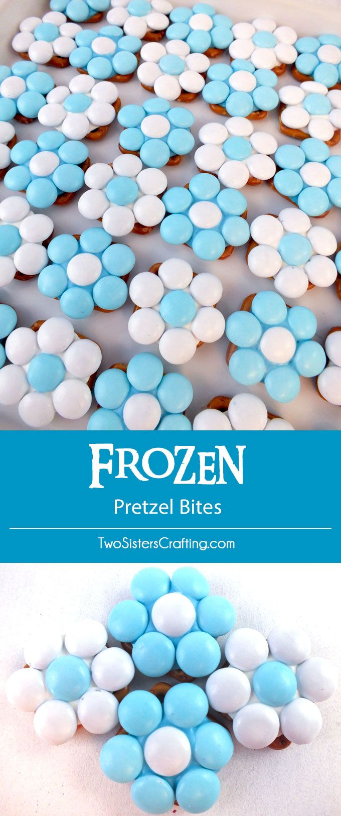 Our Frozen Pretzel Bites are the perfect sweet and salty treat for a Frozen Birthday Party and will look amazing on your Frozen Party Dessert Table. So pretty, so yummy and so easy to make. Follow us for more fun Frozen Party Ideas.