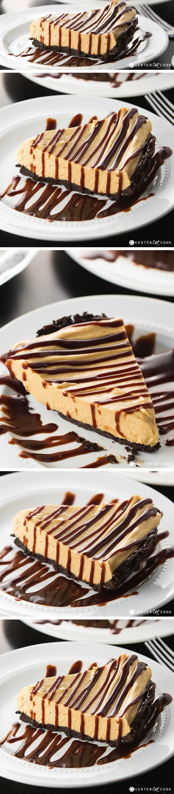 Decadent PEANUT BUTTER FUDGE PIE with an Oreo cookie crust, and creamy peanut butter filling made with cool whip and cream cheese. Topped with hot fudge, Peanut Butter Fudge Pie is a must-make!
