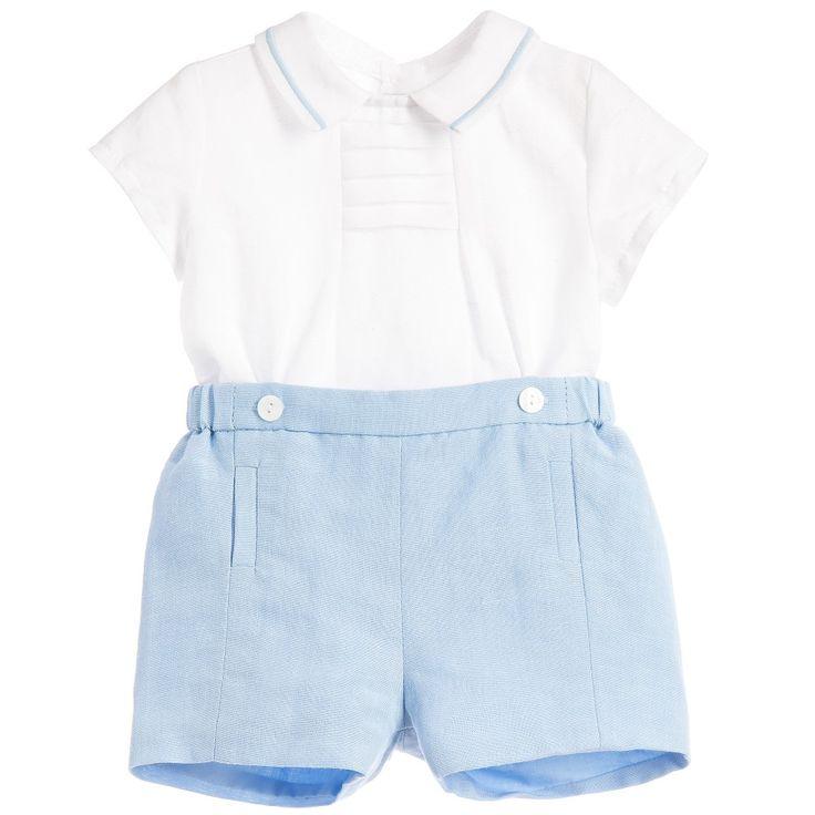 Mayoral Baby Boys Pale Blue Linen Cotton Buster Suit   at Childrensalon.com