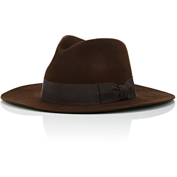 Saint Laurent Men's Fur Felt Classic Fedora ($795) ❤ liked on Polyvore featuring men's fashion, men's accessories, men's hats, brown, mens hats, mens fur hats, mens wide brim fedora, mens wool felt fedora hats and mens fedora