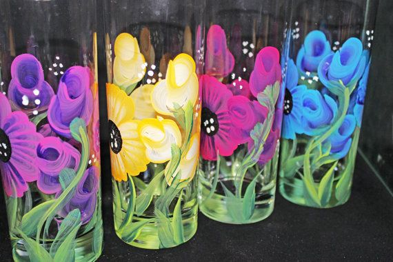 Hand Painted Ice Tea or Water Glasses Hand by PaintedPetalz, $72.00