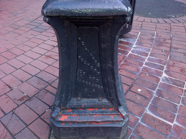 Old Reliance Foundry lamp standard located in Gastown (Vancouver), B.C.