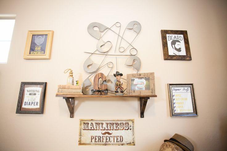 Gentleman's Quarters Nursery - love the fun, masculine wall art!: Safety Pin Art, Gentleman Nursery, Man Rooms, Quarters Nursery, Gentleman S Quarters, Baby Boy, Wall, Kids Rooms